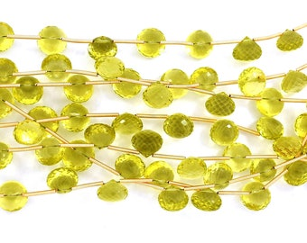 Flawless Gem Quality-Natural Lemon Quartz Green Gold Faceted Onion Shape Briolette Beads 9-10mm 10 Beads(2761-2764)