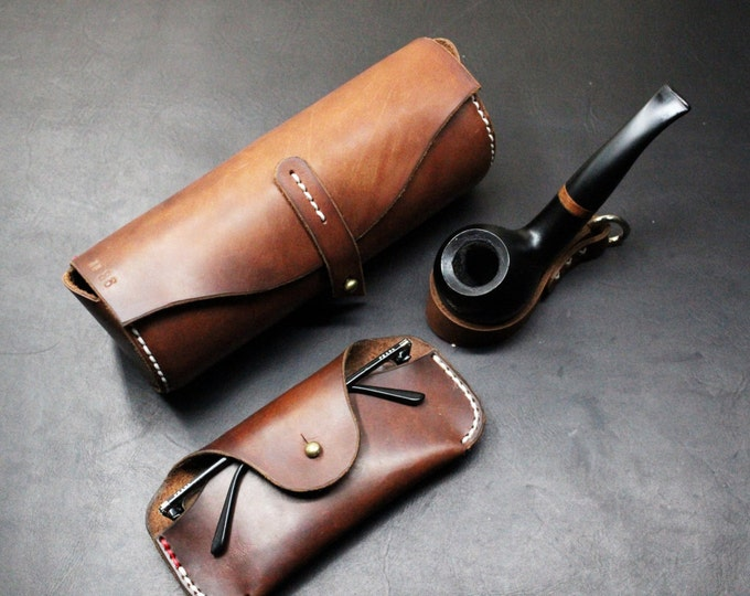 WALLET, toiletry bag, glasses case and keychains leather accessories GIFT set