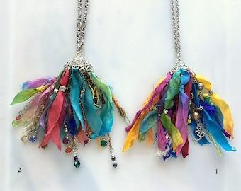 Tie Dye Sari Silk Tassel Necklaces - Long Chain Colorful Artisan Silk Tassel Necklaces - Wearable Art Rainbow Chakra Boho Chic