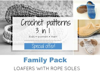 SPECIAL OFFER- 3 crochet patterns for family basic clogs with jute rope soles,all sizes,kids,adult,women,men,slippers,scuffs,loafers,slip on