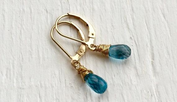London Blue Topaz Earrings Petite Drop Dangle 14K Gold Filled Minimalist Everyday Earrings December Birthstone Throat Chakra
