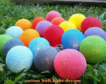 Cottonball lights20 Mix colors String Lights  Lanterns cotton ball holiday/Party