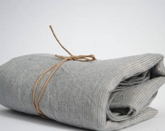 Soft linen bath towel 100% pure linen fabric bath sheet Natural and dark grey very narrow printstripes Stonewashed Linen towel Spa towel