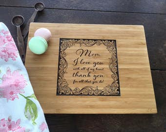 Mother's Day Present Custom Cutting Board, Gourmet Mom Birthday Present, Thank you gift on Mother's day, Custom cutting board