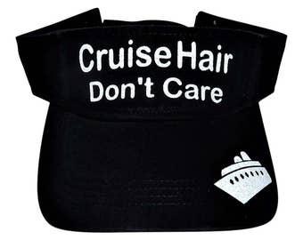 """NEW! White Glitter """"Cruise Hair Don't Care"""" Black Cotton Visor"""