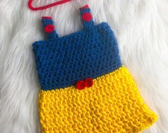 Snow White inspired crochet set. 6-12 months.
