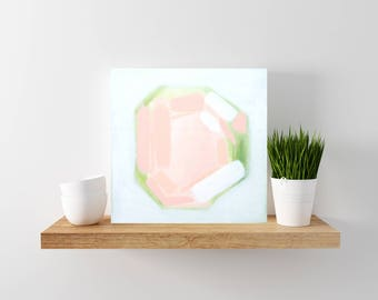 Pink and Green Abstract Painting - Tiny Painting - Modern Minimal Art - Wood Canvas - Abstract Art