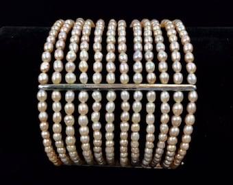 Vintage Signed CAROLEE 12 Strand Freshwater Pink Pearl 925 Silver Bracelet