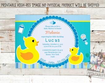 Rubber Ducky Baby Shower Invitation, Boy Baby Shower Invitation, Baby Sprinkle Invitation, Rubber Duckie Invite, Rubber Ducky Baby Shower