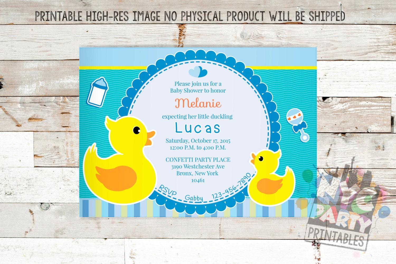 Rubber Ducky Baby Shower Invitation, Boy Baby Shower Invitation ...