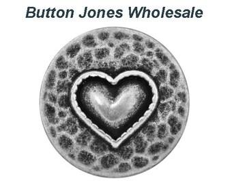 50 pcs. Heartfelt 7/8 inch ( 23 mm ) Metal Button Antique Silver Color
