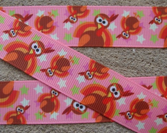 "3 yards Pink grosgrain Turkey Ribbon Thanksgiving Ribbon Turkey Printed Ribbon 7/8"" Holiday Hair Bow Ribbon"