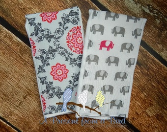 Burp Cloth Set - Pink and Gray Floral, Elephants - READY to SHIP