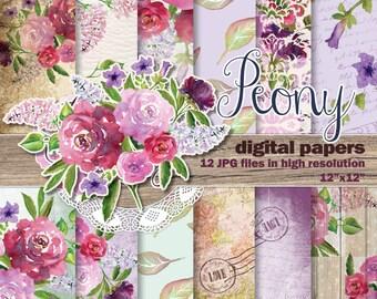 Watercolor Digital Paper Pack, Spring Peonies flowars clipart, wedding clip art, hand painted
