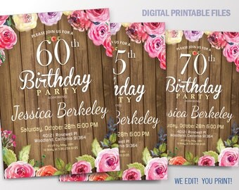 Floral Birthday Invitation. Women Birthday Party invitation for 50th, 60th, 70th, 80th, or 90th. Printable Digital DIY Card