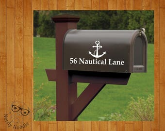 Anchor Mailbox Decal, Nautical Mailbox Decal, Custom Mailbox Decal, Address Decal, Mailbox Numbers, Mailbox Monogram, Mailbox Stickers