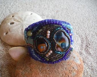 Blue beaded bracelet Beaded cuff bracelet Bead embroidery jewelry Bead embroidery bracelet Statement jewelry Gifts for her Blue bracelet