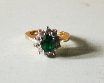 Good Quality Vintage Costume Cluster Ring Faux Emerald and Diamonds