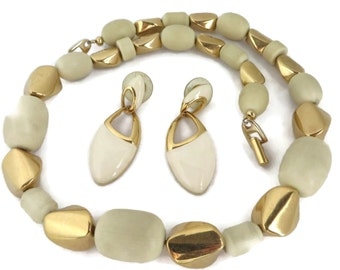 Napier Necklace and Earrings Set, Vintage Cream and Gold Tone Demi Parure