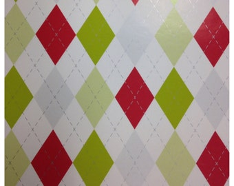 Preppy Argyle Christmas Paper in Chartreuse, Red, Silver and White