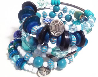 PATIENCE - Coil Memory Wire Wrap Bracelet, Affirmation Jewelry, Cause Jewelry, Benefits Homeless Mothers of Atlanta