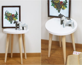 Awesome White Stool Round Table Scandinavian Style Side Table Wood Stool Small Table  Wooden Stool End Table