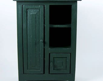 Vintage Wood Doll Cabinet or Cupboard 2 Door Storage Accessory Display Shelves