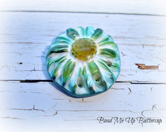 1 Blue, Green & Yellow Textured Daisy Flower Faux Ceramic Polymer Clay Pendant Connector