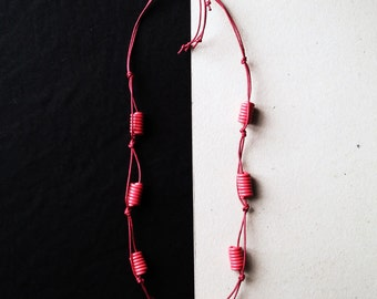 Upcycled necklace made of recycled electric cables BANGKOK red