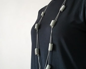Upcycled necklace made of recycled electric cables BANGKOK gris