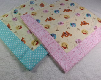 newborn baby receiving blanket made from Winnie the Pooh flannel with coordinating pink or blue fabric, Piglet, Eeyore, Tigger, Dog blanket