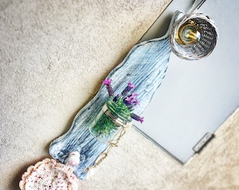 Shabby chic Wall lamp with glass jar and hanger