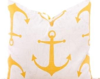 SALE ENDS SOON Yellow Anchor Pillow Cover, Throw Pillows, Yellow Pillows, Nautical, Beach Decor, Yellow and White, Beach House Pillows