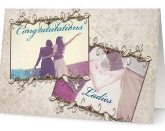 Gay Wedding marriage Congratulations, female, women, partners, lesbian elegant greeting card photo, lesbian gay photography