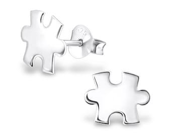 925 Sterling Silver Jigsaw Puzzle Stud Earrings - ES1507