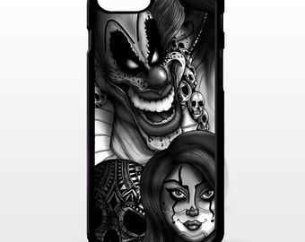 Clown girl doll Jester circus joker scary skull gothic tattoo art graphic cover for iphone 4 4s 5 5s 5c 6 6s 7 plus SE phone case