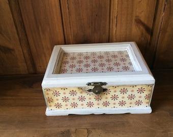 Stylish  hand painted Moroccan inspired decoupaged trinket jewellery keepsakes storage box