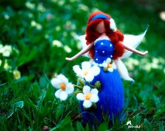 exclusive spring blossom Petruska fairy, blue, needle felted, waldorf fairy, needle felting, home decor, birthday gift, flower fairy, wool