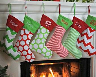 stocking polka dot stocking chevron stocking fun stocking christmas stocking - Monogrammed Christmas Stockings