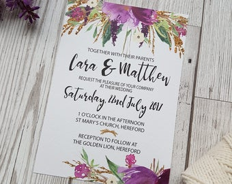 Floral Watercolour Wedding Invitation SAMPLE set, RSVP, Poem Card, Wedding Stationery, Purple Floral Wedding Invite set, Gold glitter