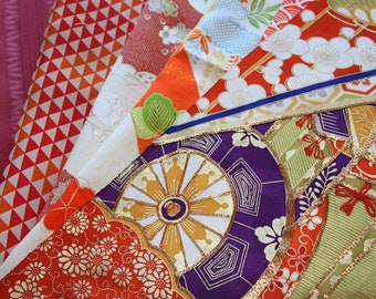 Orange/ Mix pack of Kimono silk panel /floral  /  Vintage Kimono fabric