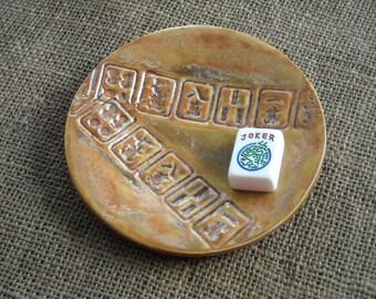 Mahjong Gift - Burnt Orange Mahjong Plate - Mahjongg Pottery - Mahjong Dish - Mahjong Game