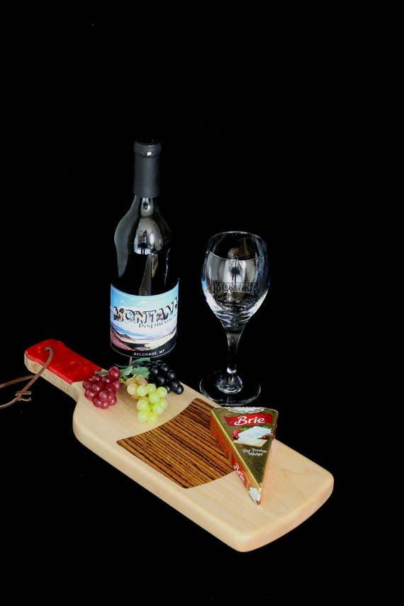 Custom Fun Style Handmade Unique Wooden Inlayed Wine Bottle Cutting Board