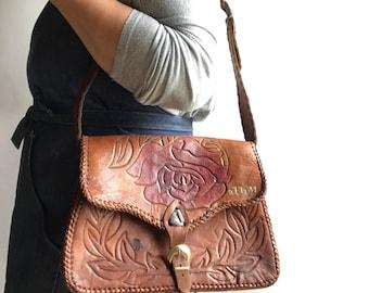Tooled Leather Handbag Boho Brown Tooled Leather Shoulder Bag 1960's Bag