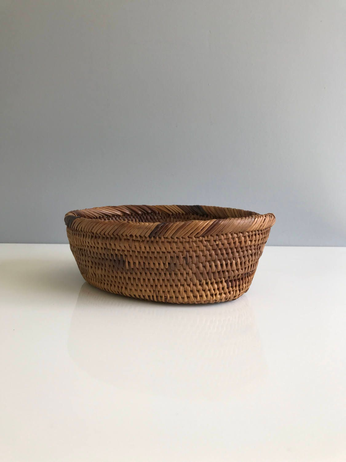 How To Weave A Basket Out Of Reeds : Small woven basket boho reed baskey