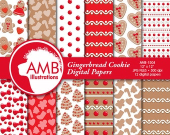 Christmas papers, Gingerbread digital papers, Gingerbread cookie paper, Christmas cookie paper, Christmas Paper Pack, AMB-1504