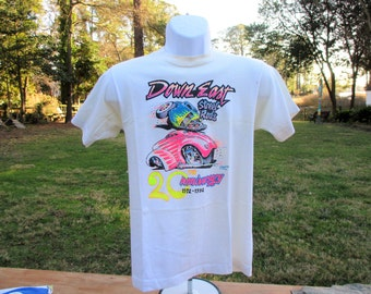 Vintage 1992 20th Anniversary Down East Street Rods Car Show T Shirt