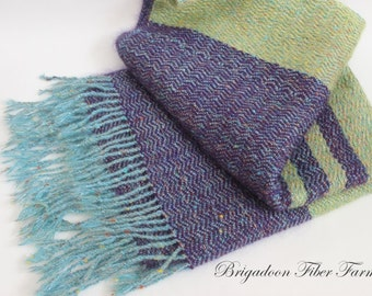 Alpaca Prayer Shawl, hand knit, purple, lime, teal, Alpaca, mohair, silk, chevron
