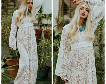 Boho Wedding Dress, boho lace wedding dress, bohemian wedding dress, casual wedding dress long sleeve wedding dress, bell sleeve wedding