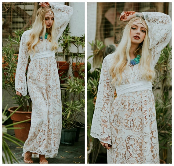 Boho Lace Wedding Dress Etsy : Boho wedding dress lace bohemian